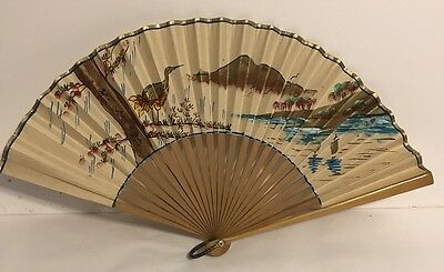 "Vintage Oriental Asian Chinese Hand Painted Gold Paper 9"" Fan"