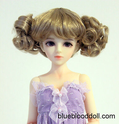"""1/4 1/6 bjd 6-7"""" synthetic mohair copper brown doll wig dollfie luts iplehouse"""