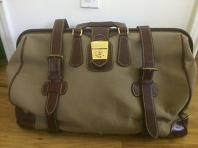 Vintage HOLLAND BROTHERS Travel Carry On Canvas Leather Doctors Duffle Bag
