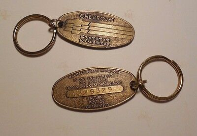 """Vintage Chevrolet """"Deposit in any Mailbox"""" Key Ring Set of 2 w/ Matching Numbers"""