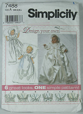 Vtg 90's Simplicity Pattern 7488 Christening Gown Coat and Bonnet Pre Cut NB SML