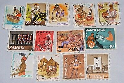 Zambia Stamp Lot 13x Vintage Used & CTO Some HR