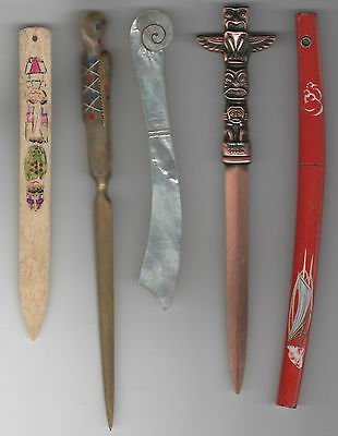 Lot 5 ANTIQUE Letter openers Samurai Sword Bone Totems Lacquer Shell South Seas