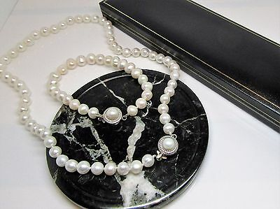 White real freshwater pearl designer clasp bracelet & necklace gift boxed
