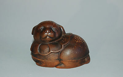 Ceramic kogo incense box, Shiba dog, Bizen ware, Japan 20th c