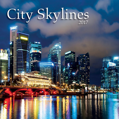 "2017 City Skylines Photo Wall Calendar, 12"" x 24"""