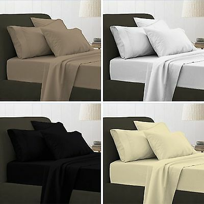 100% Egyptian Cotton T200 Duvet Cover Bedding Set Single Double King