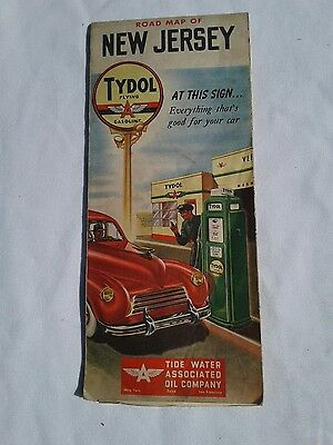 1940s (?) Tydol/Flying A New Jersey Vintage Road Map / Great Cover