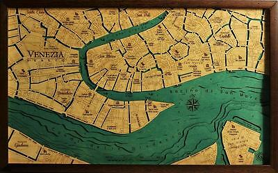 GeckoArt | Venice Wood map chart 3D 100% Made in Italy Laser cut