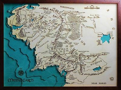 GeckoArt | Middle Earth The Lord of the Rings Wood map chart 3D 100% Made Italy