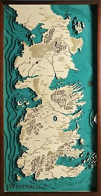 GeckoArt | Westeros Game of Thrones Wood map chart 3D 100% Made in Italy Laser