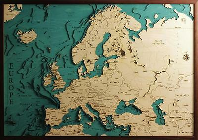 GeckoArt | Europe Wood map chart 3D 100% Made in Italy Laser cut