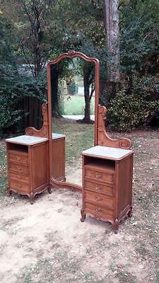 Antique Carved Walnut French Country Dressing Vanity Marble Tops Tilt Mirror