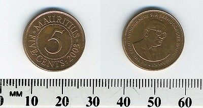 Mauritius 2003 - 5 Cents Copper Plated Steel Coin - Sir Seewoosagur Ramgoolam
