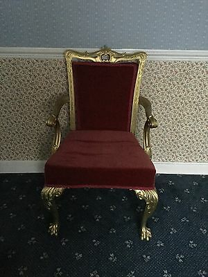 GEORGIAN ANTIQUE 18th CENTURY DINING  CARVER CHAIR CLAW & BALL FEET GOLD LEAF