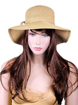 Women Ladies Wide Large Brim Flower Cap Summer Beach Sun Straw Beach Hat