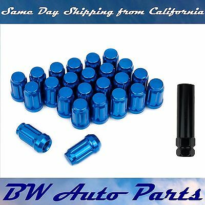 24 PCs Blue Spline Lug Nuts with Key M12x1.5 Cone Seat Closed End