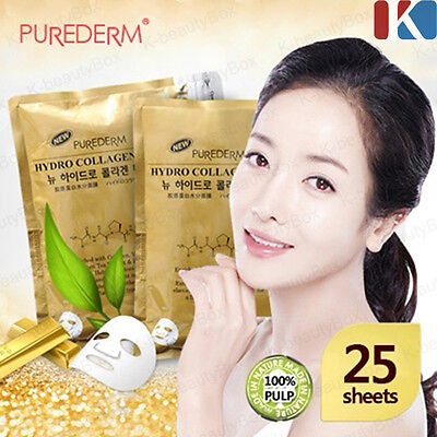PUREDERM Hydro Collagen Gold Mask 1pack (25 sheets) Moisture Facial Mask Sheet