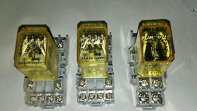 ( 3 total ) Idec ice cube relays with sockets ( 2 ) RY4S-UL and ( 1 ) RH2B-U.