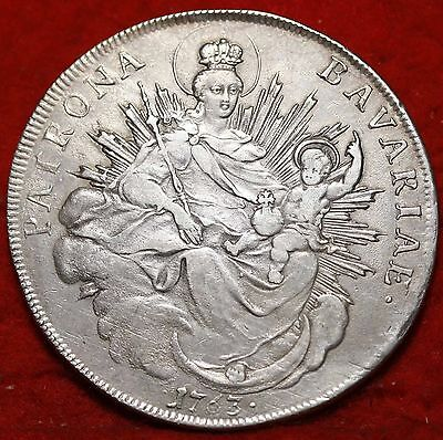 1763 German State Bavaria 1 Thaler Silver Foreign Coin 40mm