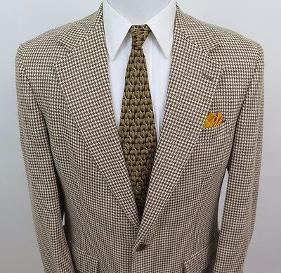 Brooks Brothers Wool Beige Brown Houndstooth Blazer Jacket Sport Coat 40 R USA