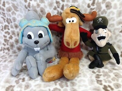"""Large 17"""" Rocky And Bullwinkle With Fearless Leader Plush Stuffed Animal Set"""