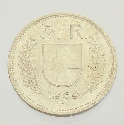 1969B Switzerland 5 Francs, William Tell, Helvetica, Silver Coin, VF