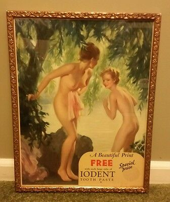 1936 Female Nude Print Advertisement Sign Iodent Tooth Paste J BRADSHAW CRANDALL