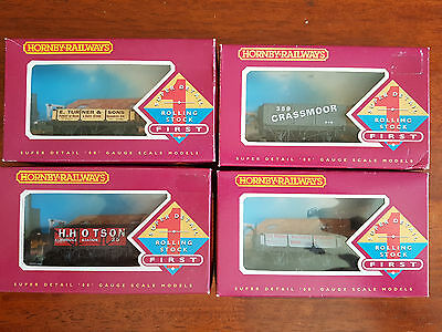 Hornby Private Owner Open Wagons X 4 Very Good Condition Boxed Oo Gauge (Tc)