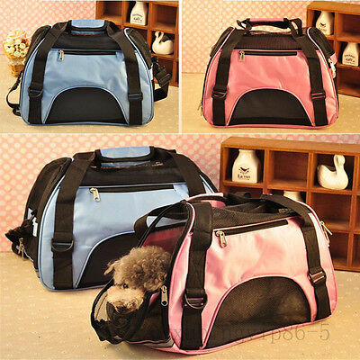 Pet Puppy Carrier Soft Sided Cat Dog Bag Travel Blue/ Pink Large Size Pet Supply