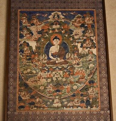 Old APPLIQUE FRAMED SHAKAMUNI BUDDHA THANGKA  18-19 century (LARGE)
