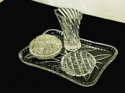 Vintage Lovely 4- Pieces Crystal Dressing Table Vanity Set