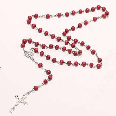 New Decor Sweater Red Rosary Beads Religious Christ Bracelet Wooden Necklace