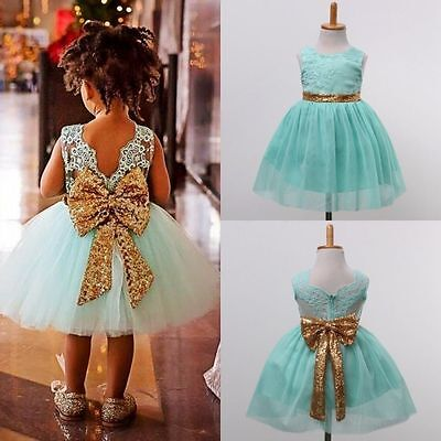 UK Toddler Kids Girl Sequin Princess Wedding Bridesmaid Party Gown Outfits Dress