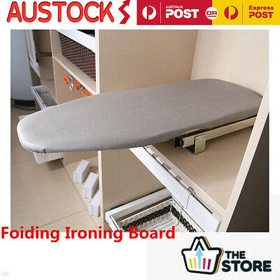 Foldable Pull Out Ironing Board Cupboard Space Saving Clothes Iron Plate W/Cover