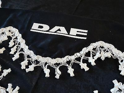 3 Pcs. Black Curtains With White Tassels And White Logo For DAF XF CF LF