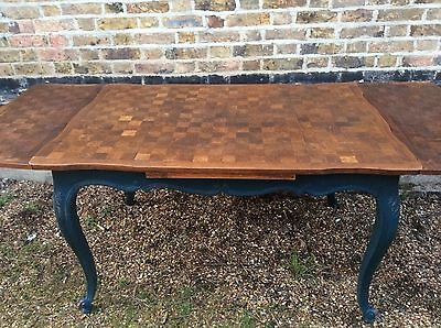 Vintage French Versailles Antique Oak Dining Table Extends Painted F&B