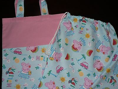 Handmade library bags first name embroidered free Pep pa Pig Pink colour