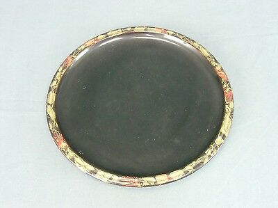 LW334 Japanese Lacquer Plate Makie Wood Susuki 9.7in Vtg Wajima Nurimono Tray