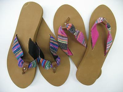 14efee027cd2 NEW Multi Color Fabric Strap Thong Flip Flops Sandals Summer Womens Size 6  7 10
