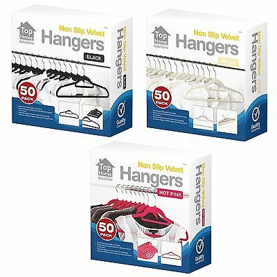 New Wardrobe Slim Velvet Touch Space Saving Coat Clothes Non Slip Hanger 50 Pack