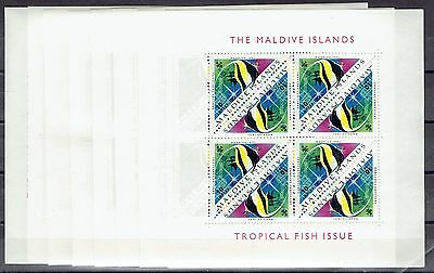 Maldives 1963 Tropical Fish set of 8 sheets of 8 very fine unhinged mint