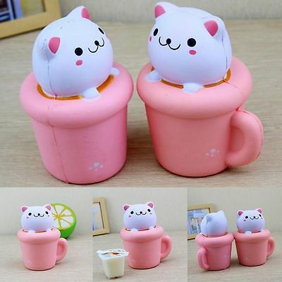Lovely Squishy Charm Soft Slow Rise 14CM Cup Cat Cream Scented Phone Strap hot