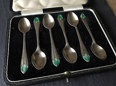 Antique Set Of Six Solid Silver And Enamel Teaspoons 6 Coffee Spoons Art Deco