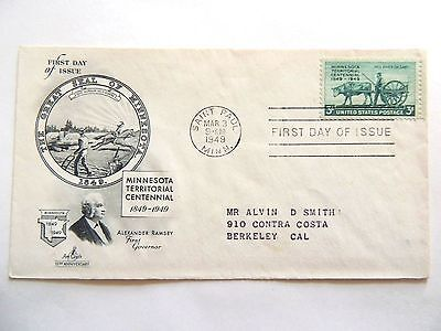 """March 3rd, 1949 100th Anniversary Territory of """"Minnesota"""" First Day Issue"""