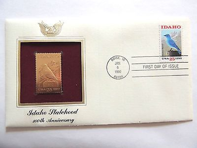 """January 6th, 1990 100th Anniversary """"Idaho Statehood"""" 1st Day Gold Stamp Issue"""