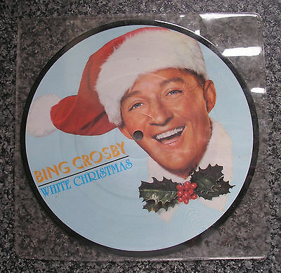 """BING CROSBY 7"""" Picture Disc White Christmas Silent Night Christmas in Killarney"""