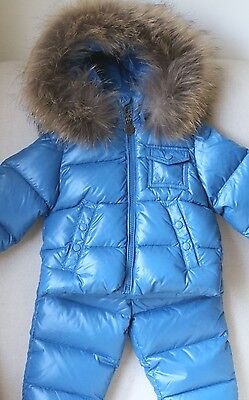 Moncler Baby Remy Blue Fur Trim Down Padded Jacket Coat Snowsuit 12-18 Months