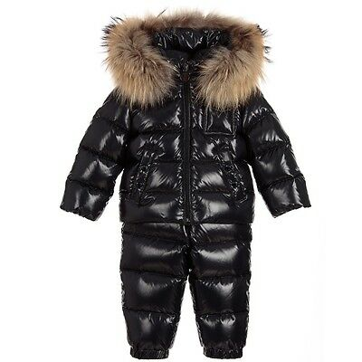 Moncler Baby Remy Navy Fur Trim Down Padded Jacket & Pants Snowsuit 12-18 Months