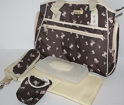 "Baby Diaper Changing Bag, Brown with Pink Flowers ""Love is"" Model by Skinly"